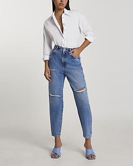 Blue ripped high waisted tapered jeans