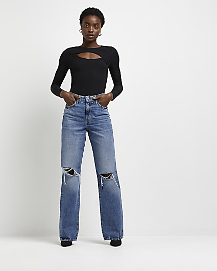 Blue ripped high waisted wide leg jeans