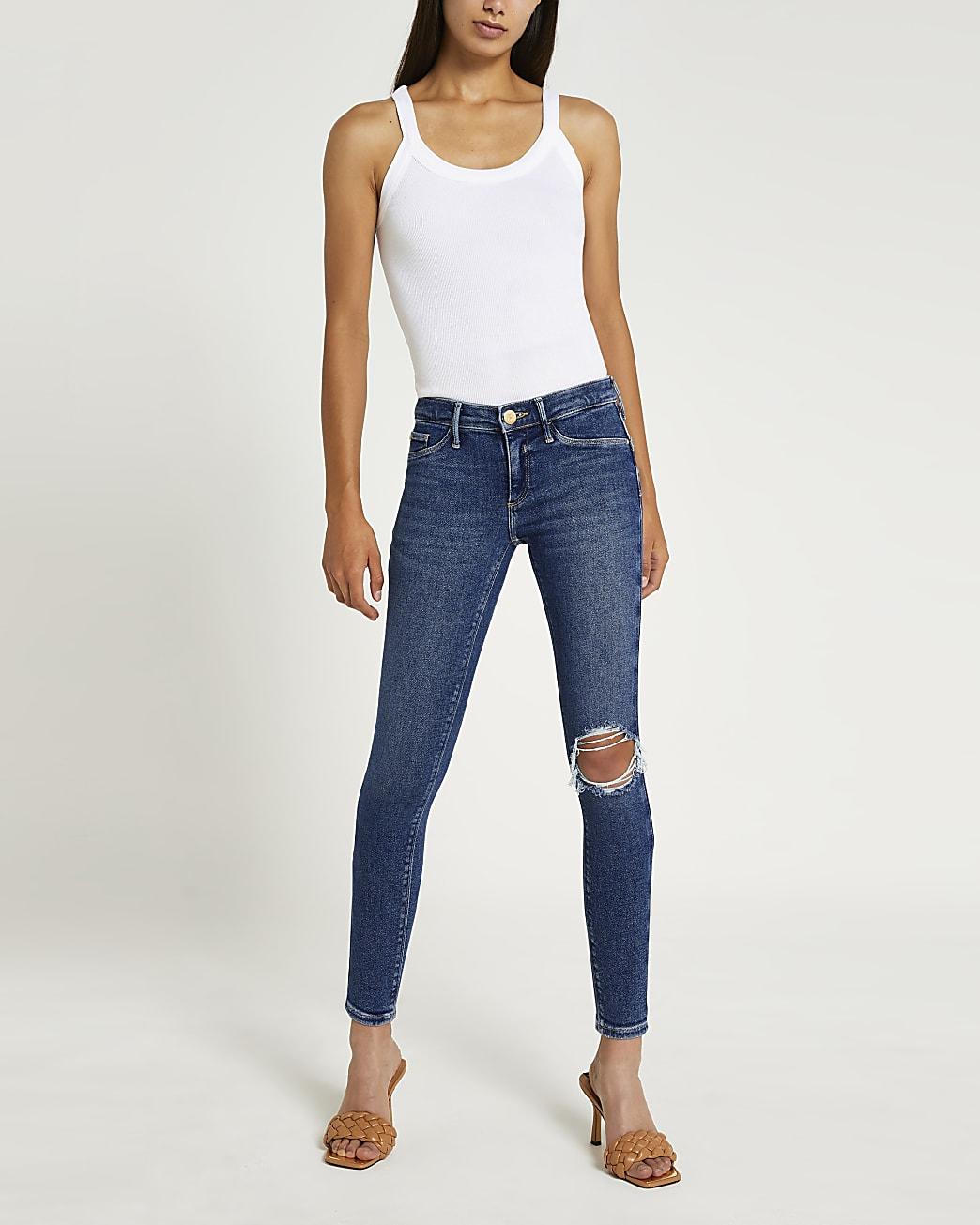 Blue ripped low rise bum sculpt skinny jeans