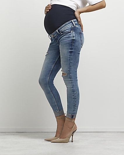 Blue ripped mid rise maternity skinny jeans