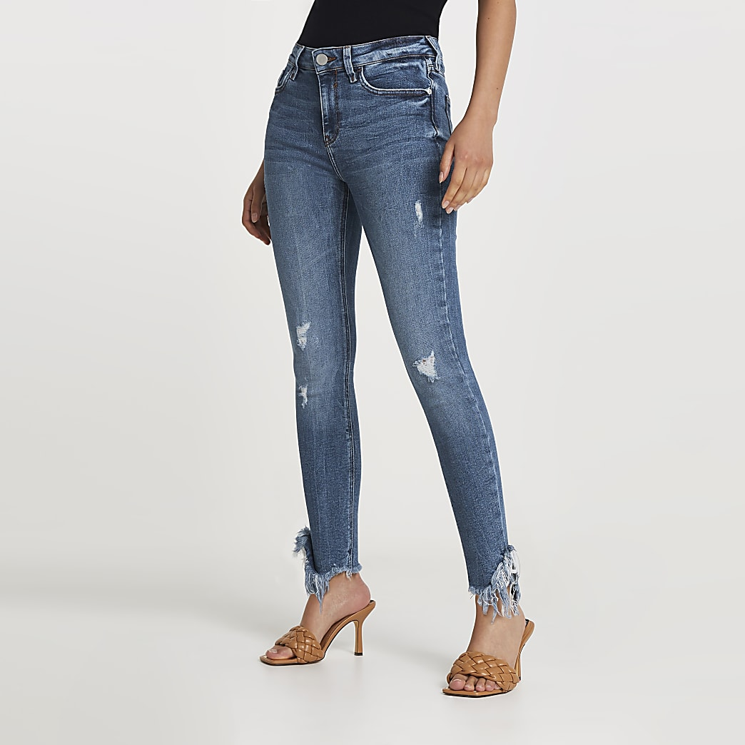 Blue ripped mid rise skinny jean
