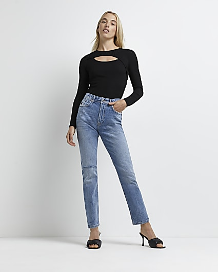 Blue ripped mid rise slim fit jeans