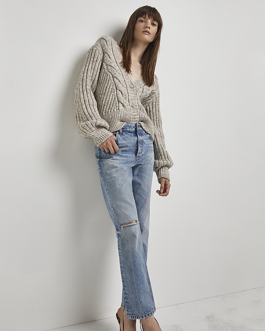 Blue ripped mid rise straight jeans
