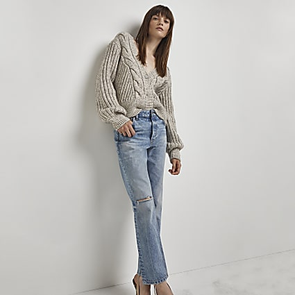 Blue ripped mid rise straight leg jeans