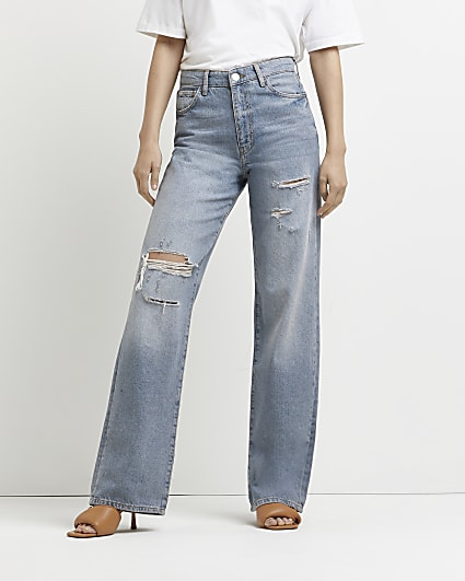 Blue ripped mid rise wide leg jeans
