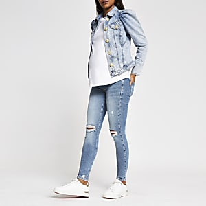 Blue ripped Molly overbump maternity jeggings