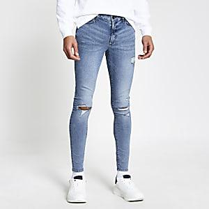 Ollie – Blaue Skinny Spray-on-Jeans im Used-Look