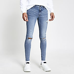 Ollie - Blauwe ripped spray-on  skinny jeans