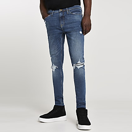 Blue ripped Ollie superskinny spray on jeans