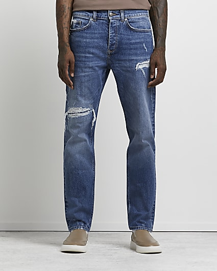 Blue ripped relaxed fit jeans