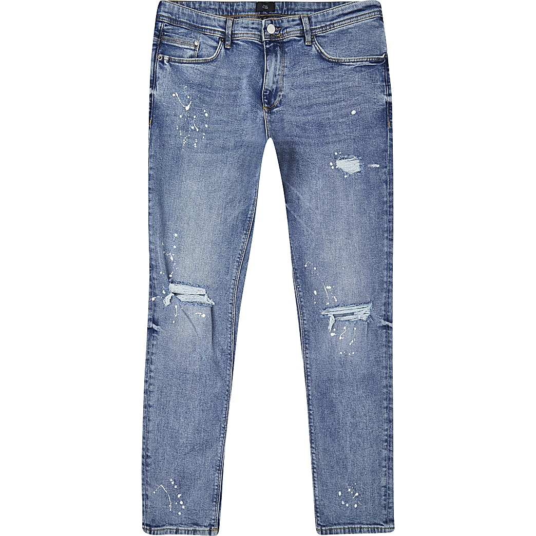 Blue ripped Sid skinny jeans