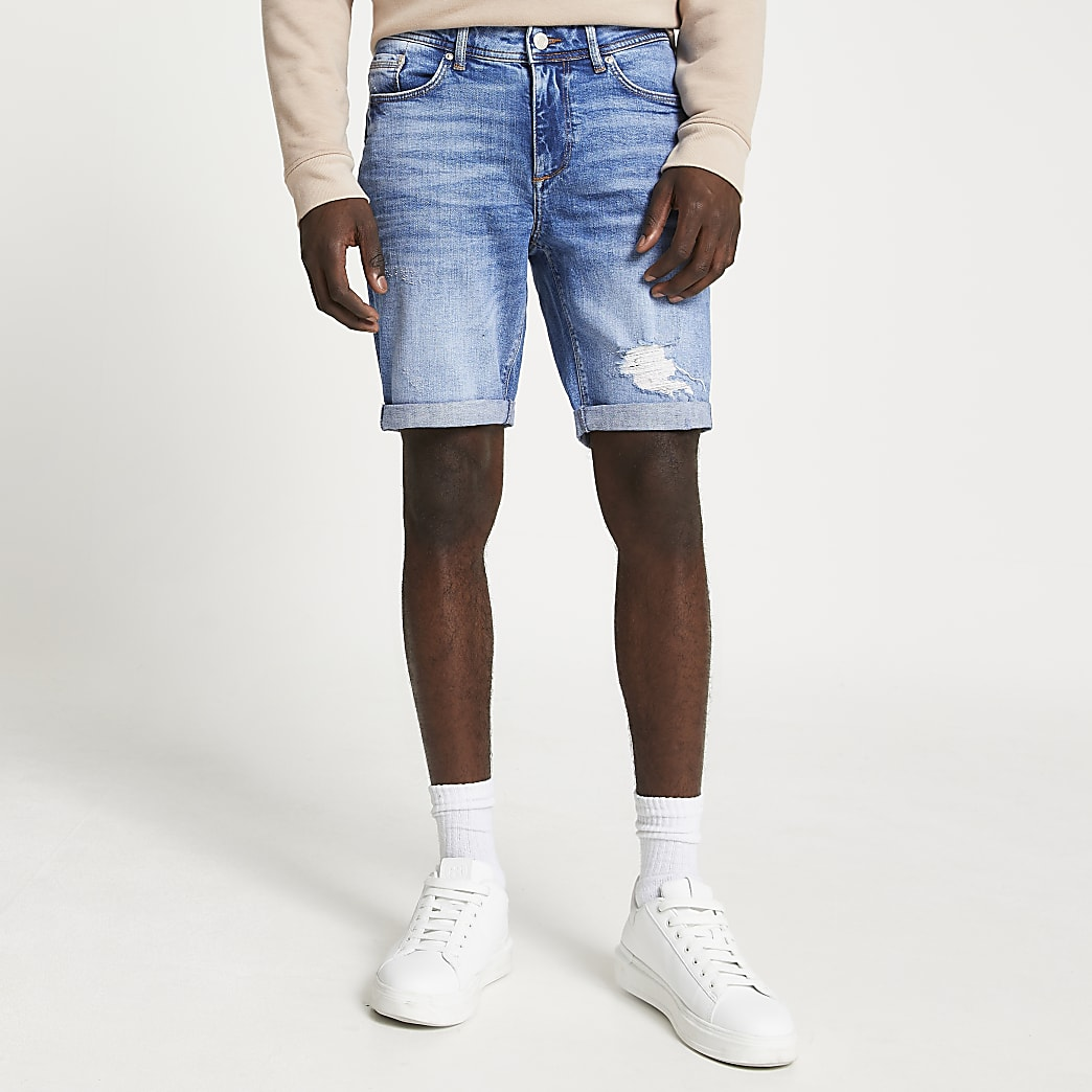 Blue ripped skinny denim shorts