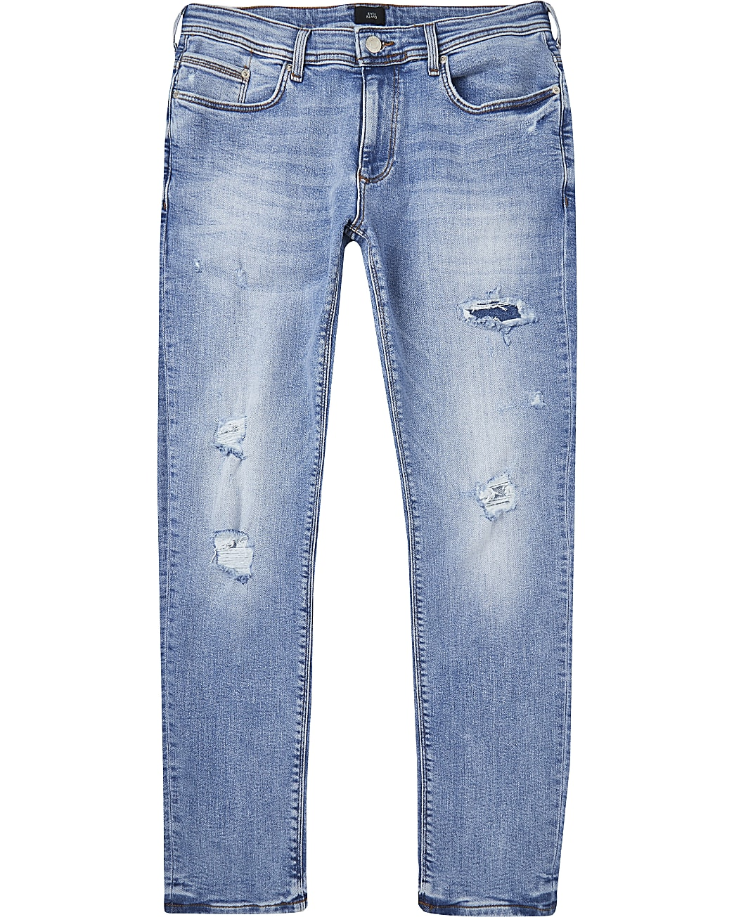 Blue ripped skinny fit jeans
