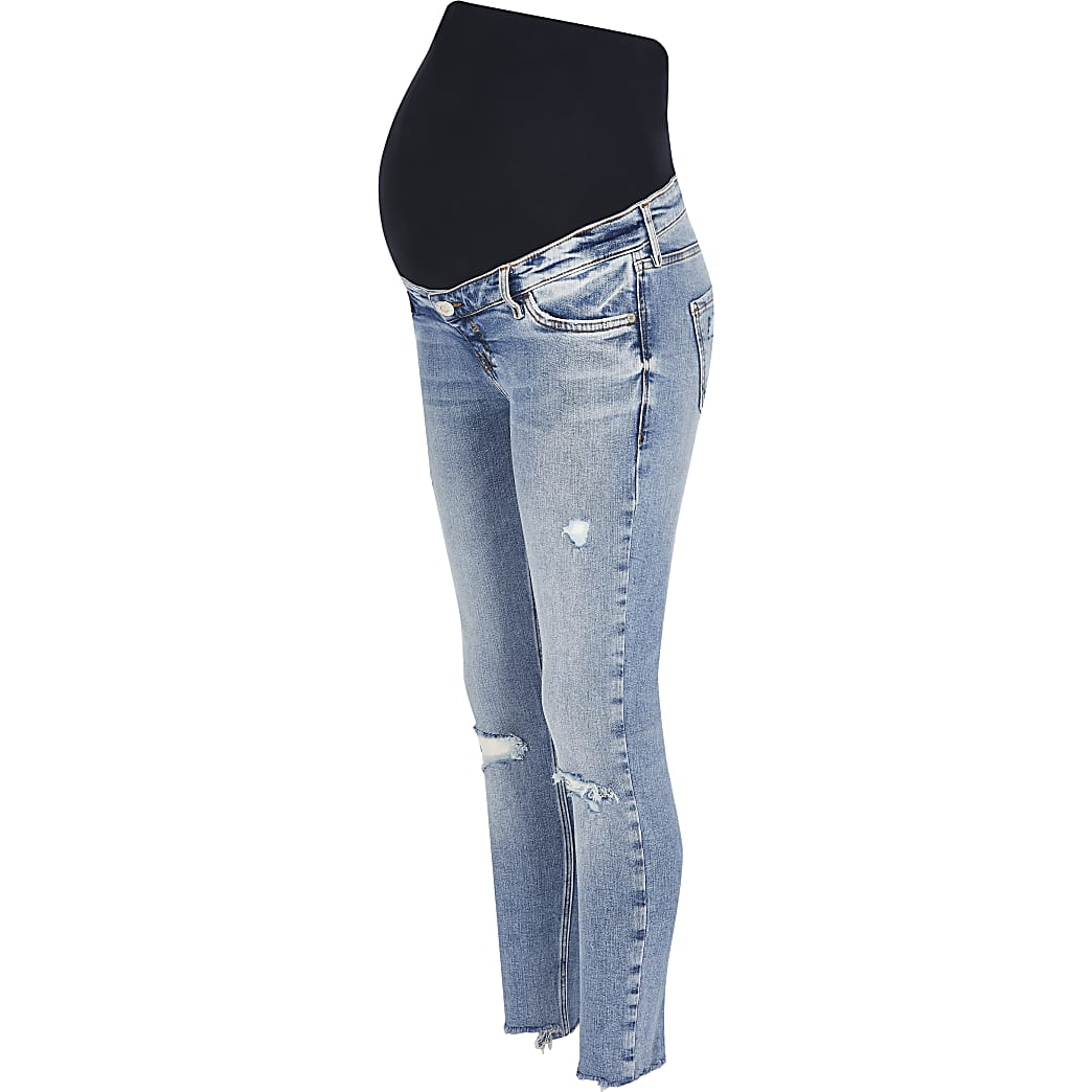 Blue ripped skinny maternity jeans