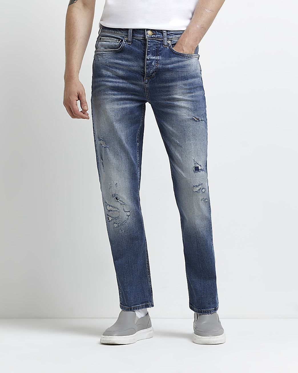 Blue ripped straight fit jeans