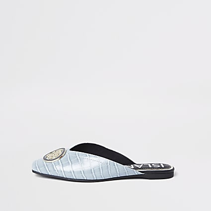 Blue 'RIR' embossed square toe mule sandal
