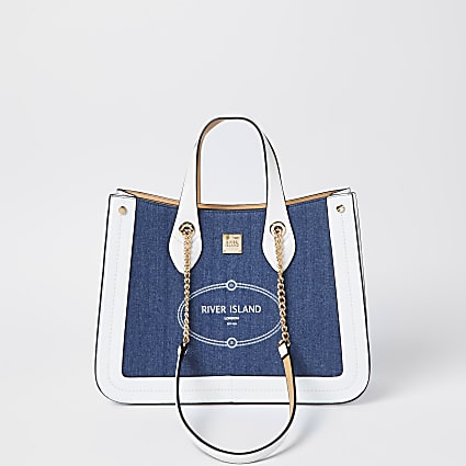 Blue 'River Island' large shopper bag
