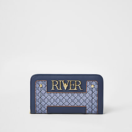 Blue 'River' monogram zip around purse