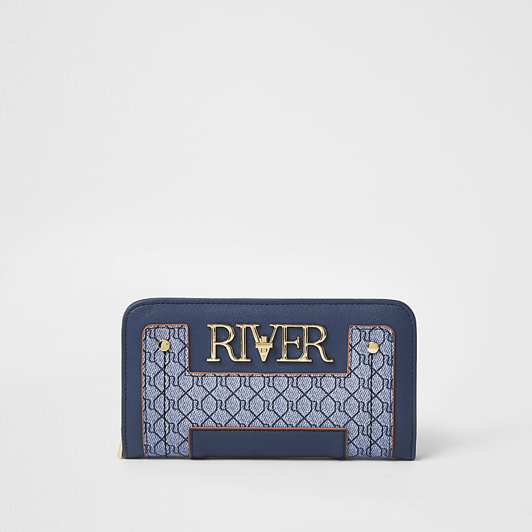 Blue 'River' monogram zip around purse