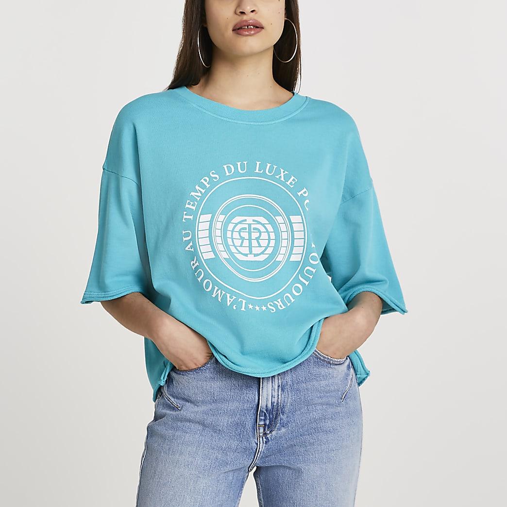 Blue 'RR' boxy short sleeve sweatshirt