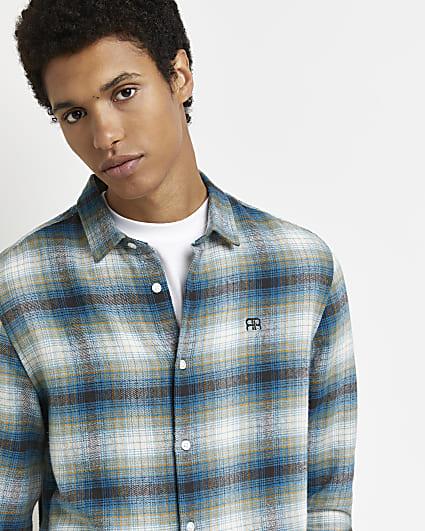 Blue RR check print slim fit shirt
