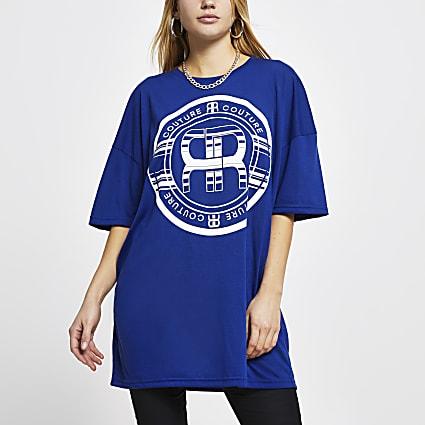 Blue RR logo print oversized t-shirt