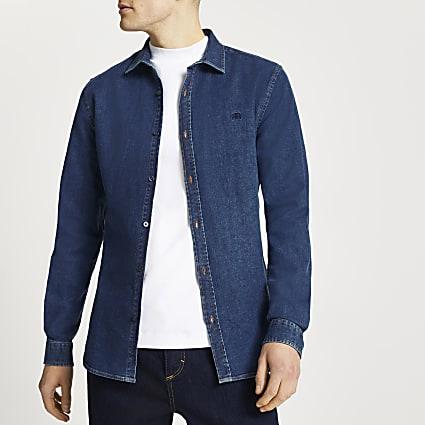 Blue RR muscle fit long sleeve denim shirt