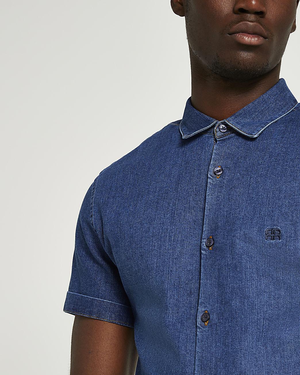 Blue RR muscle fit short sleeve denim shirt