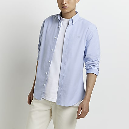 Blue RR Oxford slim fit long sleeve shirt