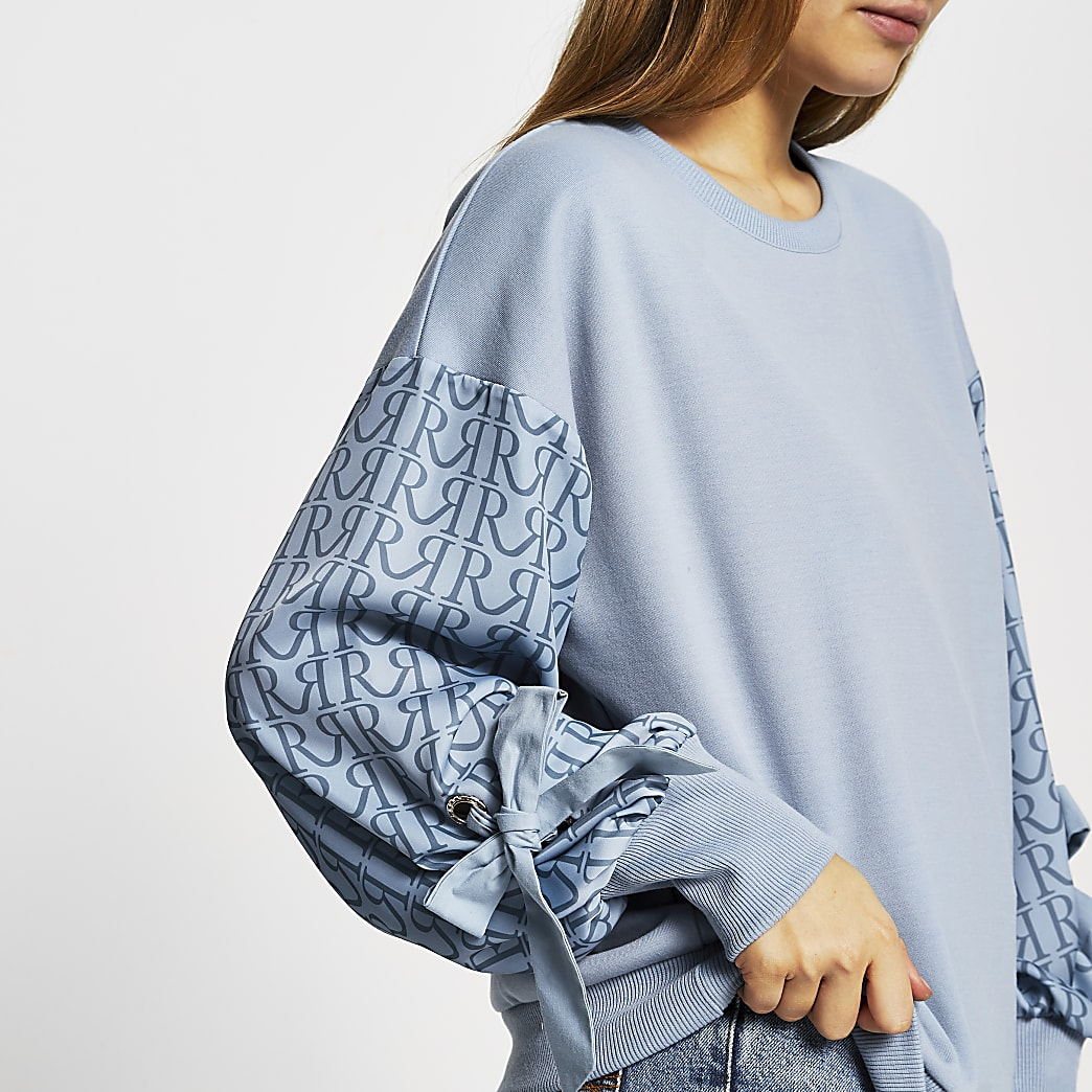 Blue 'RR' print eyelet long sleeve sweatshirt