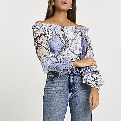 Blue ruffle long sleeve bardot blouse