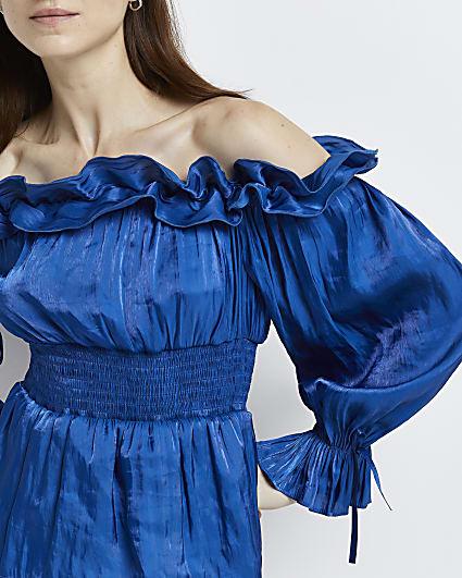 Blue ruffled bardot top