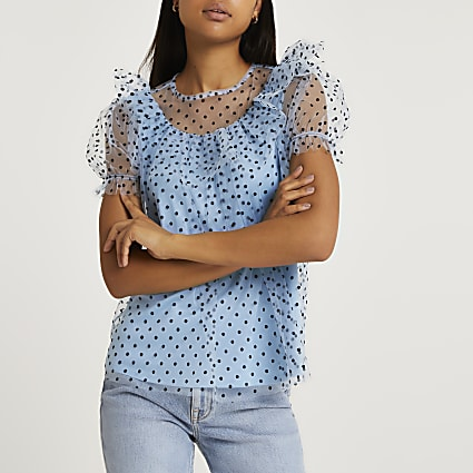 Blue ruffled puff sleeve mesh top