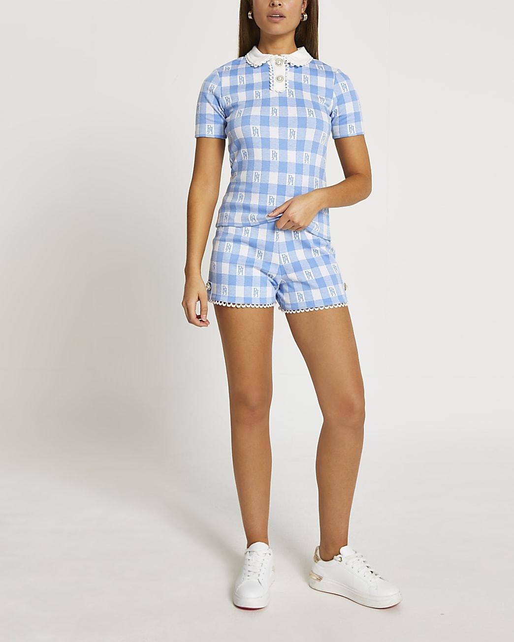 Blue scallop gingham jacquard shorts