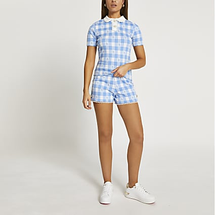 Blue scallop gingham jacquard shorts