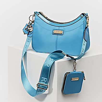 Blue scoop shoulder bag with mini pouche
