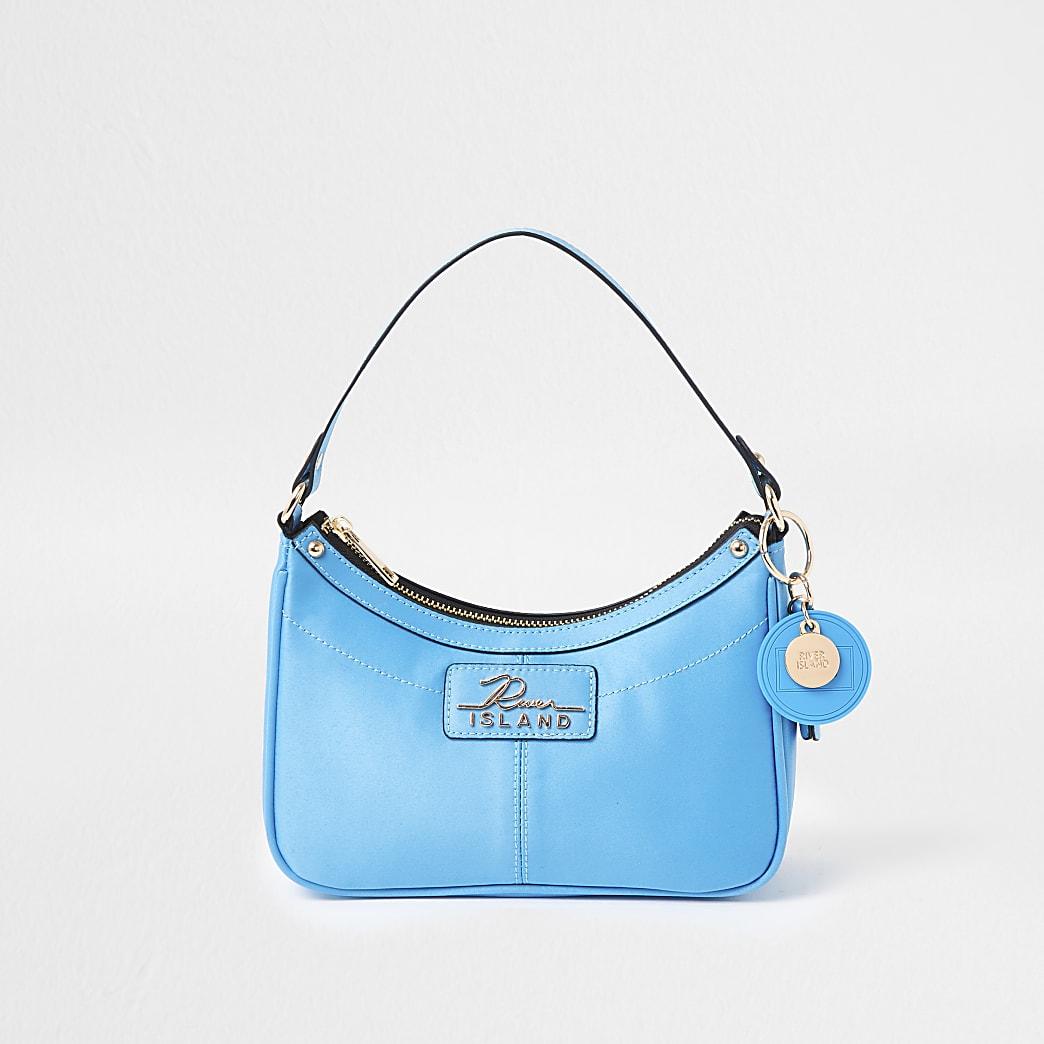 Blue scoop shoulder bag