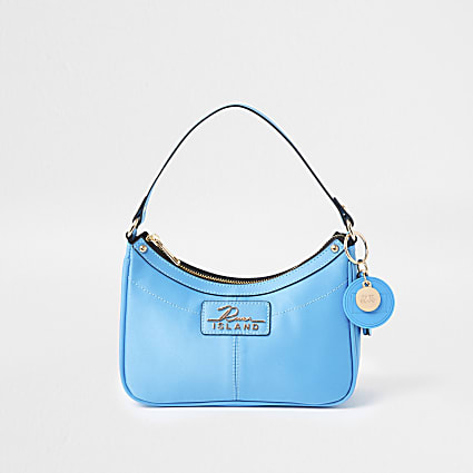 Blue scoop shoulder handbag