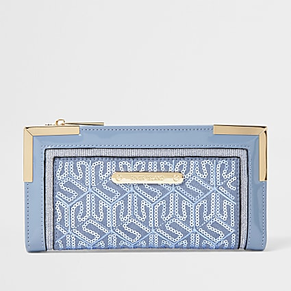 Blue Sequin Metal Corner Purse