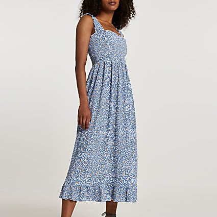 Blue shirred floral midi dress