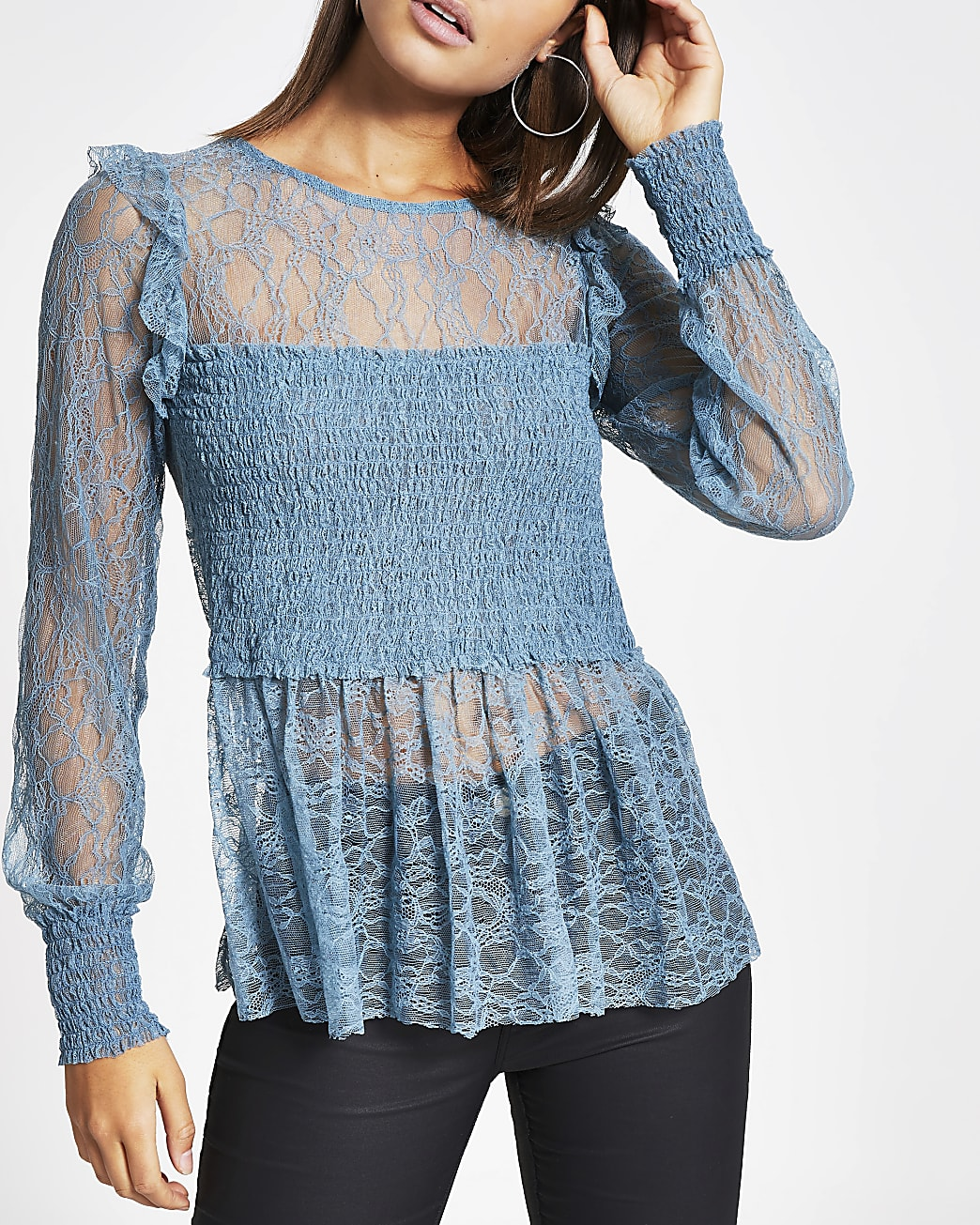 Blue shirred long sleeve lace top