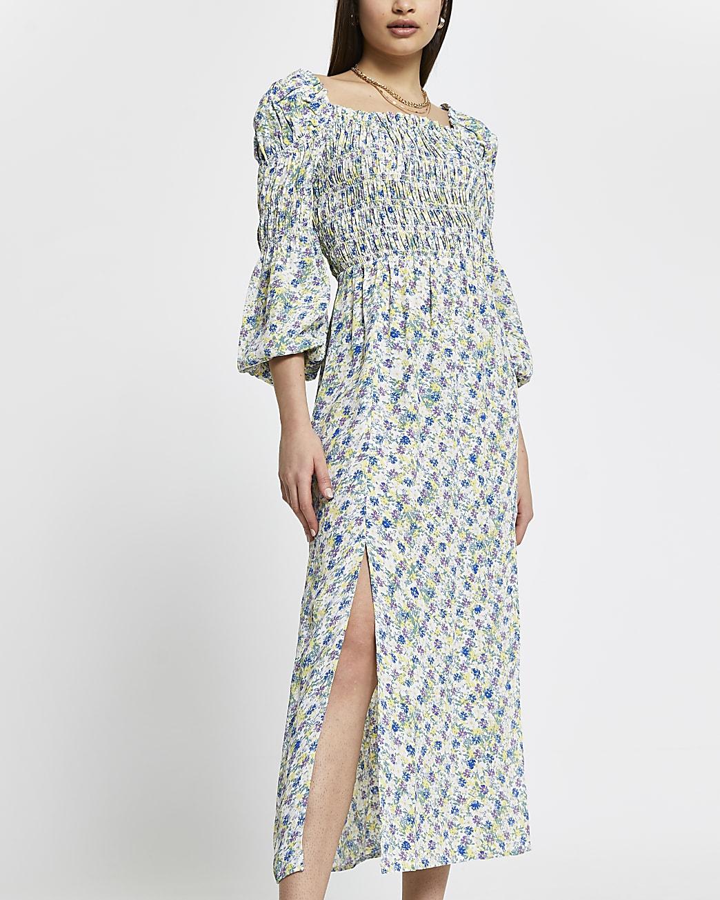 Blue shirred maxi dress
