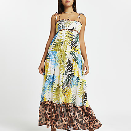 Blue shirred tiered maxi beach dress