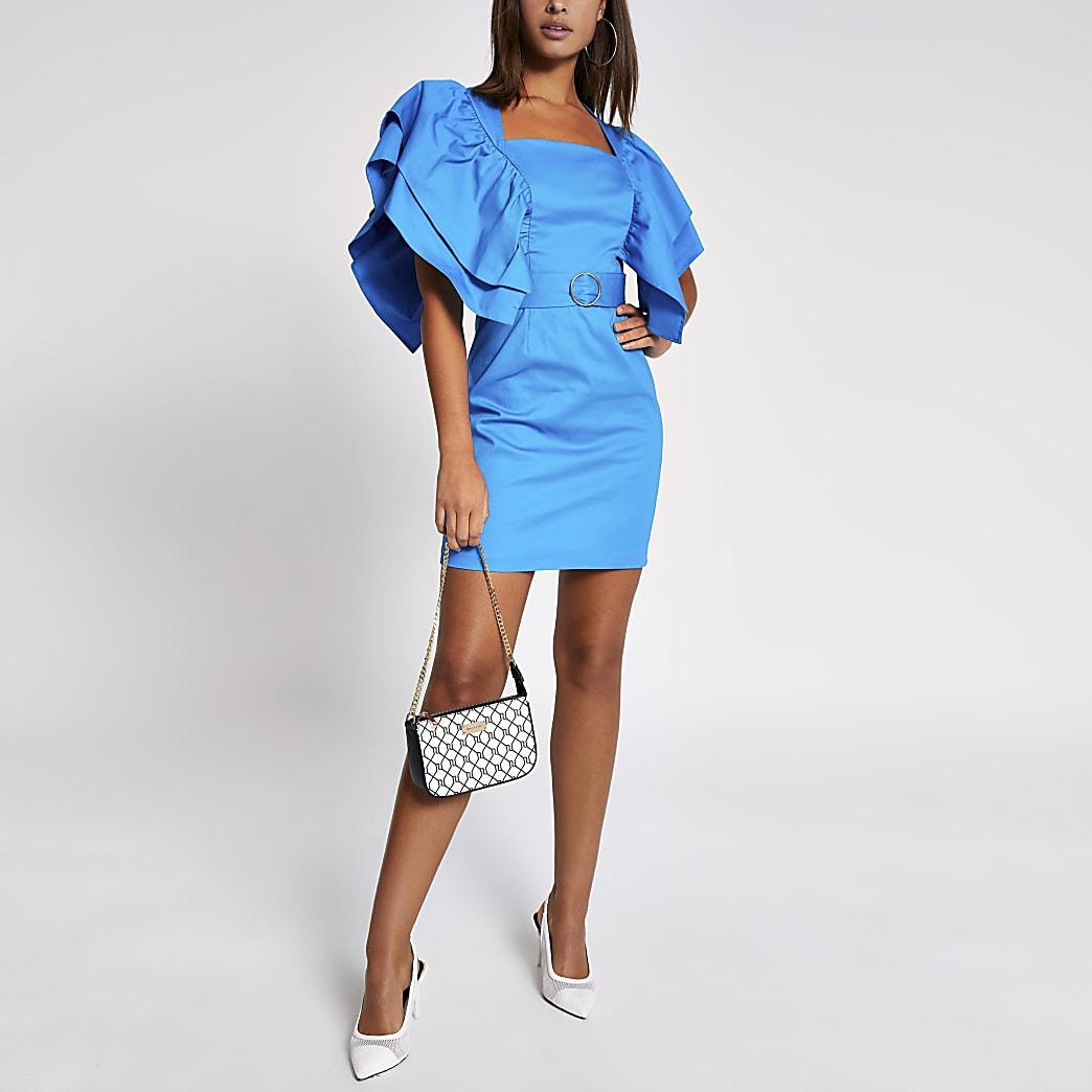 Blauwe mini-jurk met ceintuur en ruche mouwen