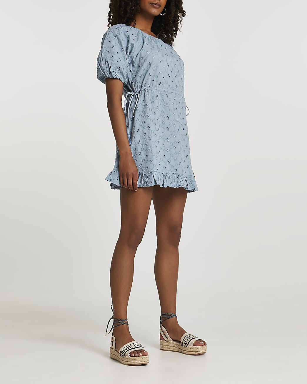 Blue short puff sleeve broderie mini dress