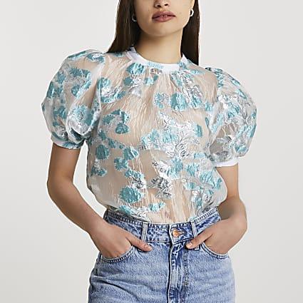 Blue short puff sleeve jacquard top