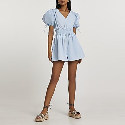 Blue short puff sleeve shirred waist playsuit
