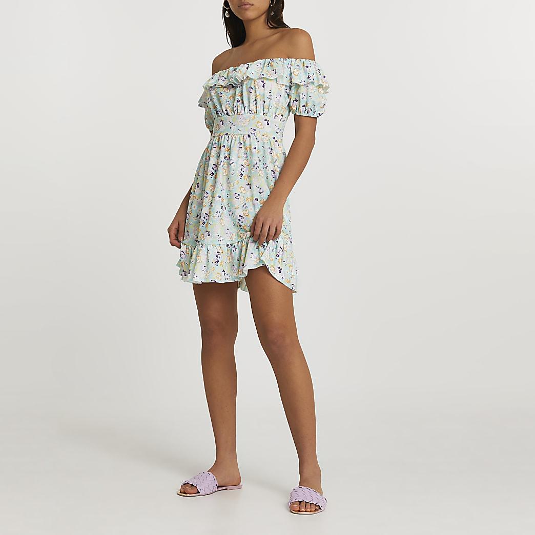 Blue short sleeve bardot floral mini dress