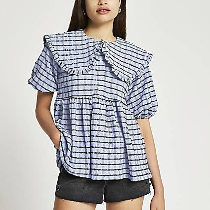 Blue short sleeve check collar smock top