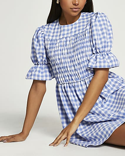 Blue short sleeve check shirred mini dress